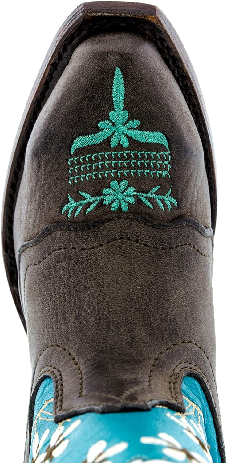 Veretta Boots Girls Kids Baby Blue Brown Floral Embroidered Cowgirl Boots Snip