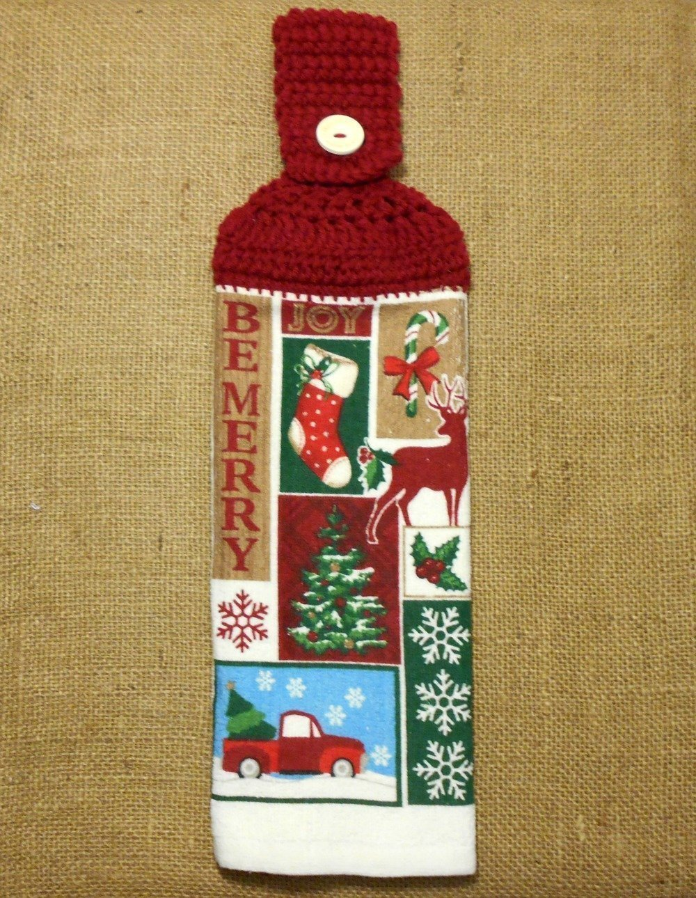 Rustic Holiday Themed Hanging Dish Towel Double Sided With A Crochet Top, Christmas Kitchen Decor