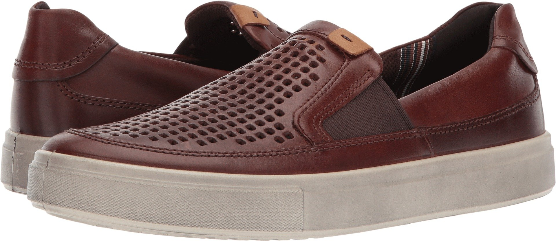 ECCO Men's Kyle Perforated Slip on Fashion Sneaker,cognac,43 EU/9-9.5 M US