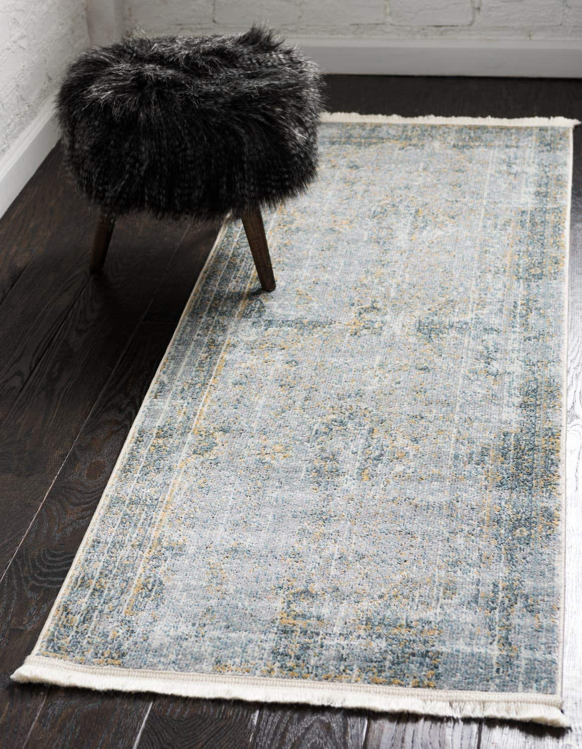 Unique Loom Baracoa Collection Bright Tones Vintage Traditional Gray Runner Rug 2 2 x 6 0
