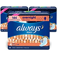 Always Maxi Feminine Pads with Wings for Women, Size 4, Overnight, 144 Count Total, FSA HSA Eligible, Unscented, 48…