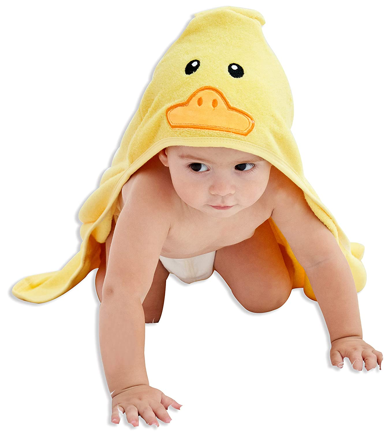HIPHOP PANDA Bamboo Hooded Baby Towel - Softest Hooded Bath Towel for Babie, Toddler,Infant, Perfect for Boy and Girl - (Yellow Duck, 30 x 30 Inch)