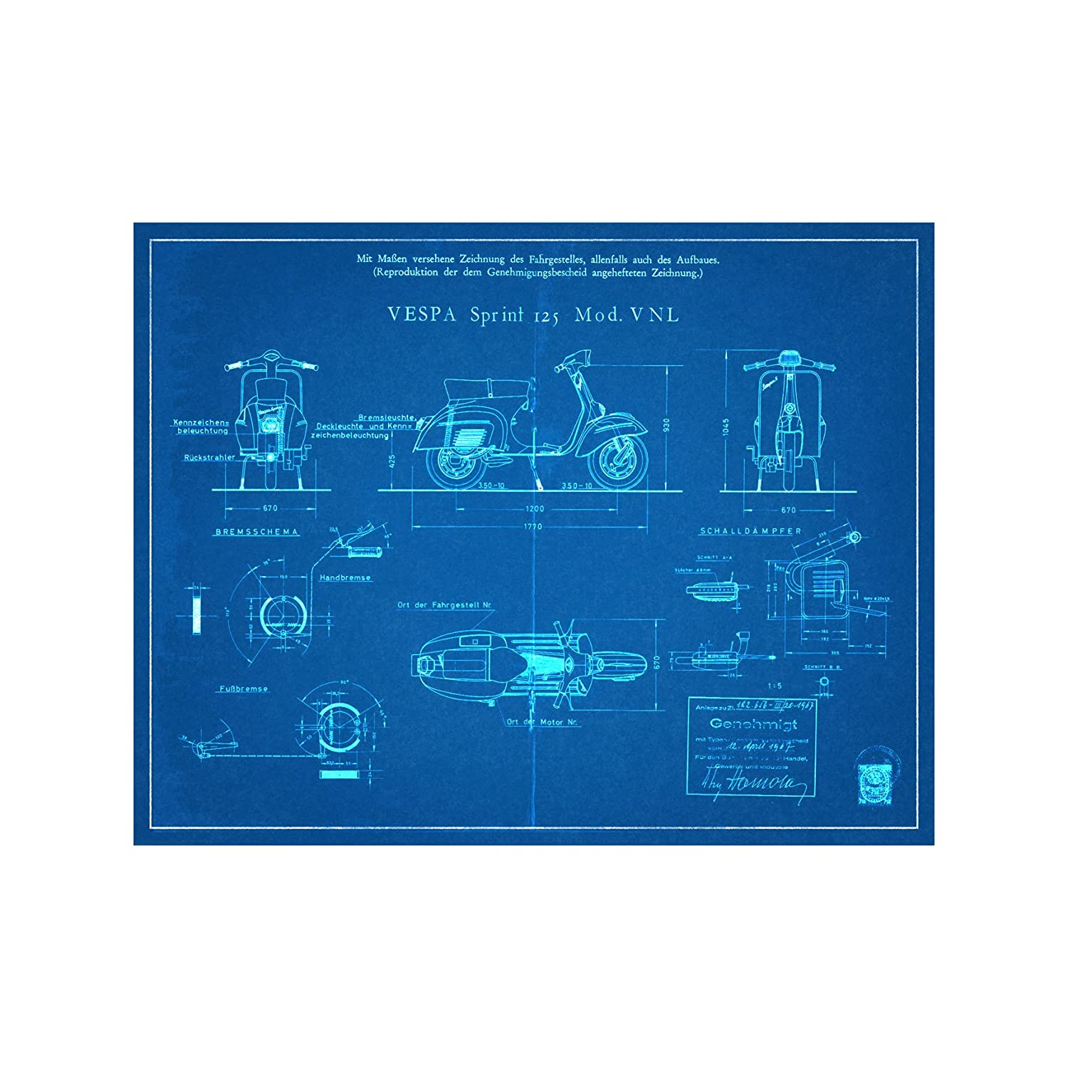 18 tall x 14 wide Blueprint Style Vespa Scooter Engineers Diagram Art Print