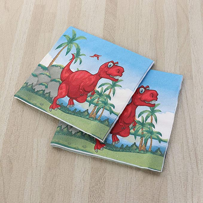BESTONZON 20 piezas de papel Toallas Dinosaurio con dibujos Servilletas desechables Suministros para fiesta de cumpleaños: Amazon.es: Hogar