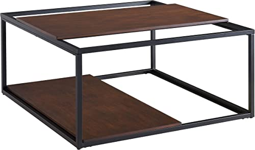 Holly Martin Decklan Two Tier Coffee Table – Sliding Wood Shelves w Metal Frame