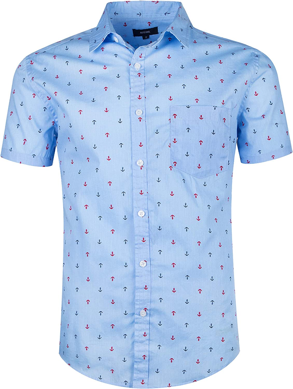 TOPORUS Mens Casual Short Sleeve Printing Pattern Button Down Shirt