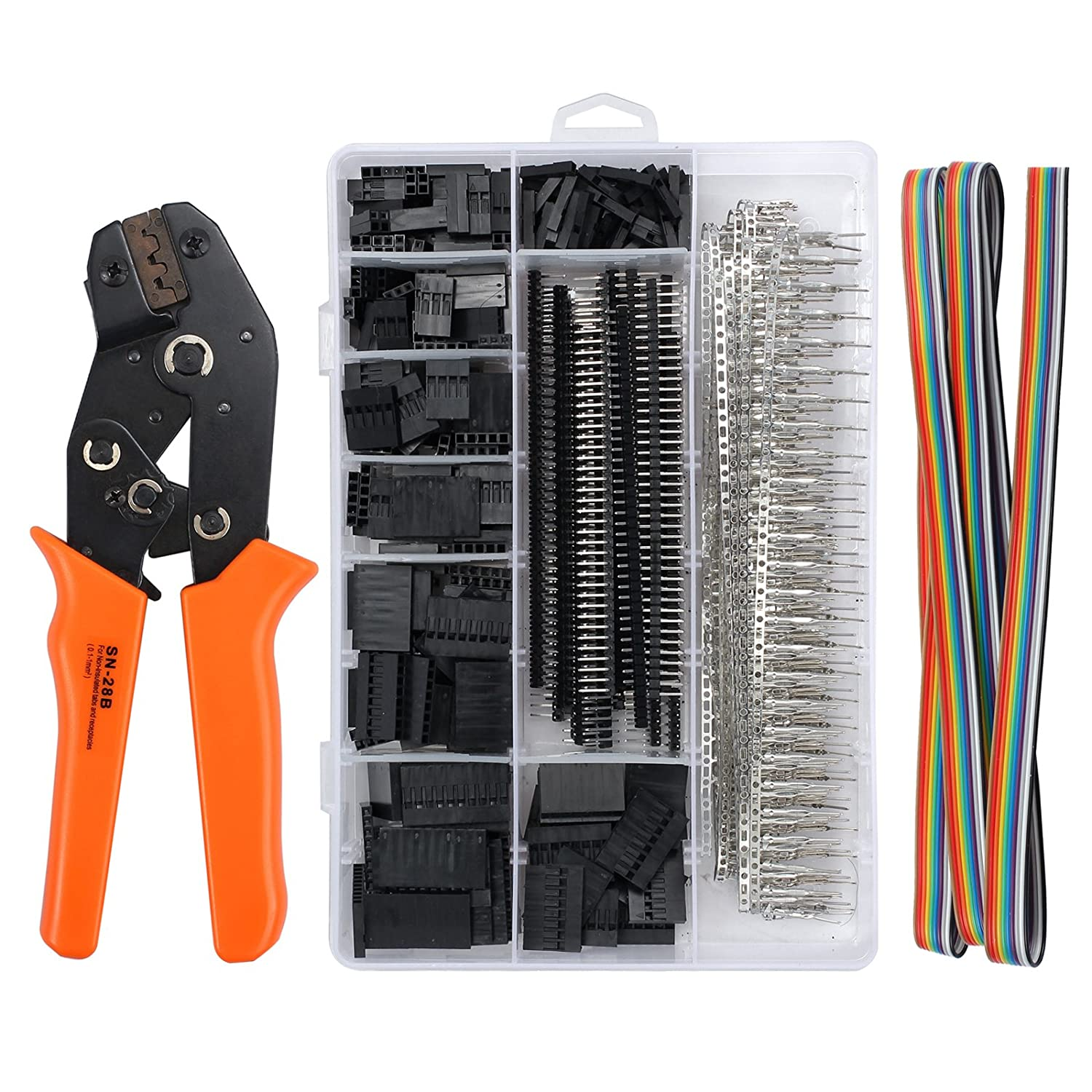 Kamtop Dupont Crimping Tools SN-28B Dupont Ratchet Crimper with 1550PCS Dupont Male/Female Pin Connectors 0.1-1.0mm² Dupont Crimping Set for 2.54mm 3.96mm KF2510 Connector 28-18AWG TL313KPTEU