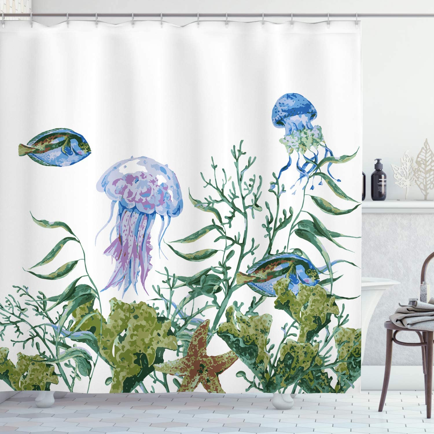 Ambesonne Ocean Shower Curtain, Watercolor Style Effect Sea Life Pattern with Seaweed Jellyfish and Fish, Cloth Fabric Bathroom Decor Set with Hooks, 70