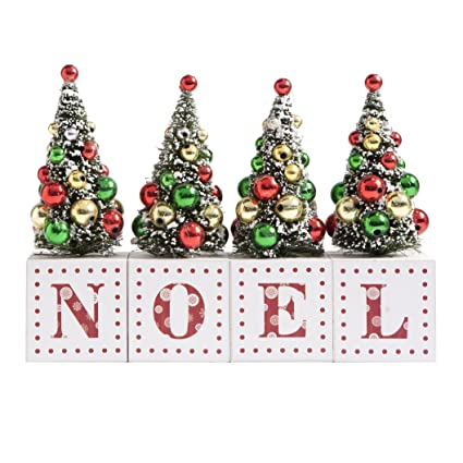 merry bright christmas collection noel collage blocks with xmas trees mantel decorations - Merry Christmas Decorative Blocks
