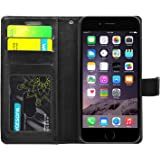 FOSO High Quality PU Leather Magnetic Flip Cover Case for iPhone 6 / 6S, (Executive Black)