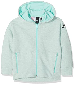 ADIDAS Mädchen ID Heathered Kapuzen-Jacke, Stadium Heather CLR Mint Black, f2709ef6fd