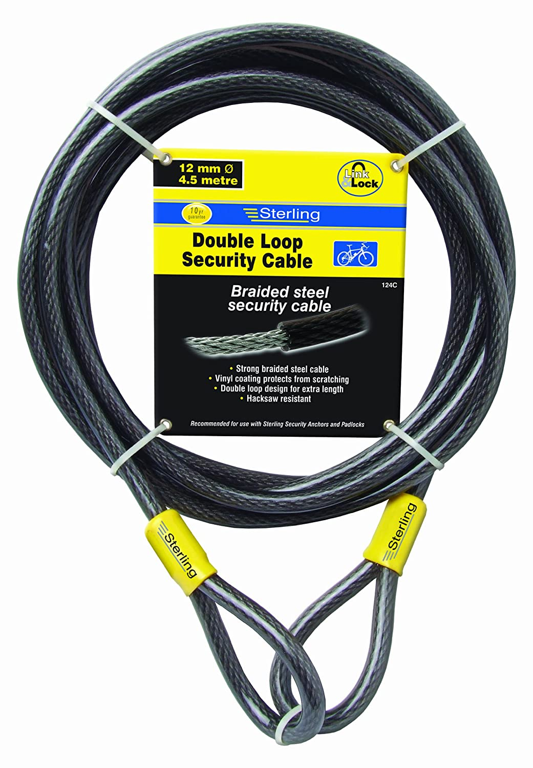 Sterling 152C 15 mm x 2.1 m Braided Steel Double Loop Cable, Black Sterling Locks