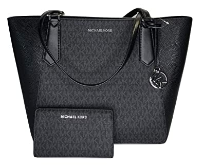 acf5db60a985 Amazon.com: MICHAEL Michael Kors Kimberly Large Bonded Tote bundled with Michael  Kors Jet Set Travel Slim Bifold Wallet (Signature MK Black): Shoes