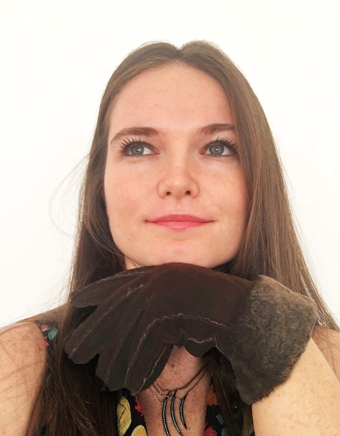 Soft Shearling Inside Womens Real Sheepskin Leather Fur Lined Gloves for Winter
