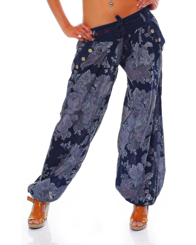 Moda Italy Damen Haremshose Pumphose Ballonhose Pluderhose Yogahose Aladinhose Harem Sommerhose mit Stoffgürtel Flower-Print One Size Gr.36-42 Anthrazit