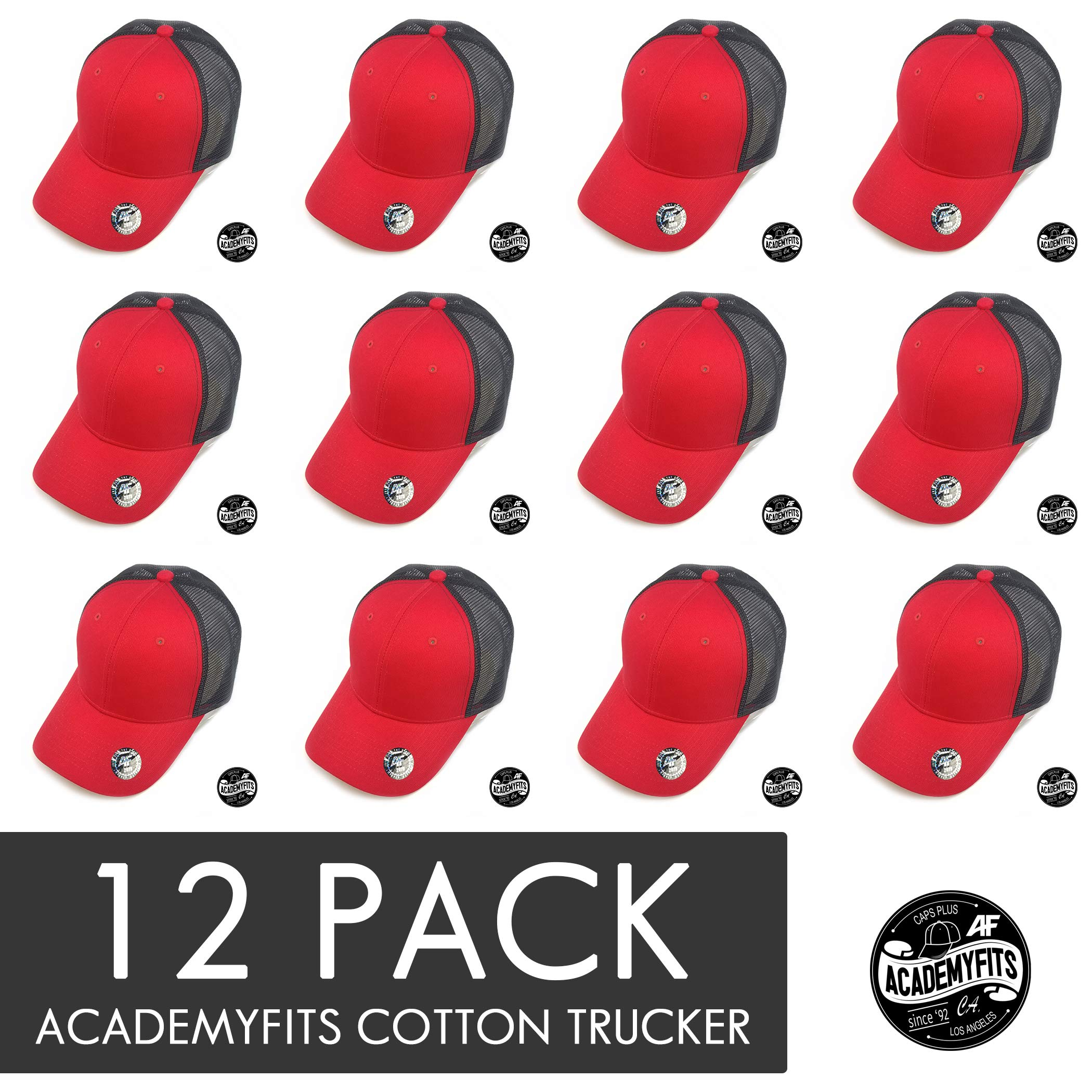 AcademyFits Quality 6 Panel Cotton Trucker Mesh Snapback Curve Visor Men Women Unisex Wholesale 12 Pack Lot (Red/Black (12))