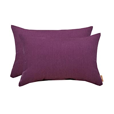 "RSH Décor Set of 2 Indoor Outdoor Decorative Lumbar Throw Pillows Sunbrella Canvas Iris ~ Vibrant Magenta Purple - Choose Size (12"" x 20"") : Garden & Outdoor"