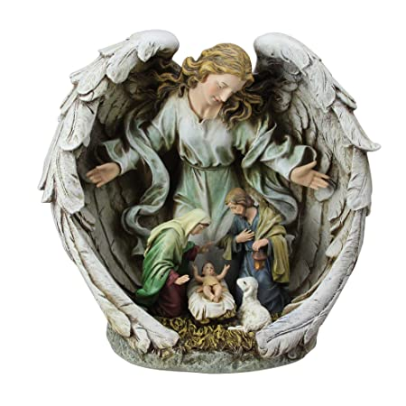 11 Holy Family in Angel Nativity Table Top Christmas Figurine