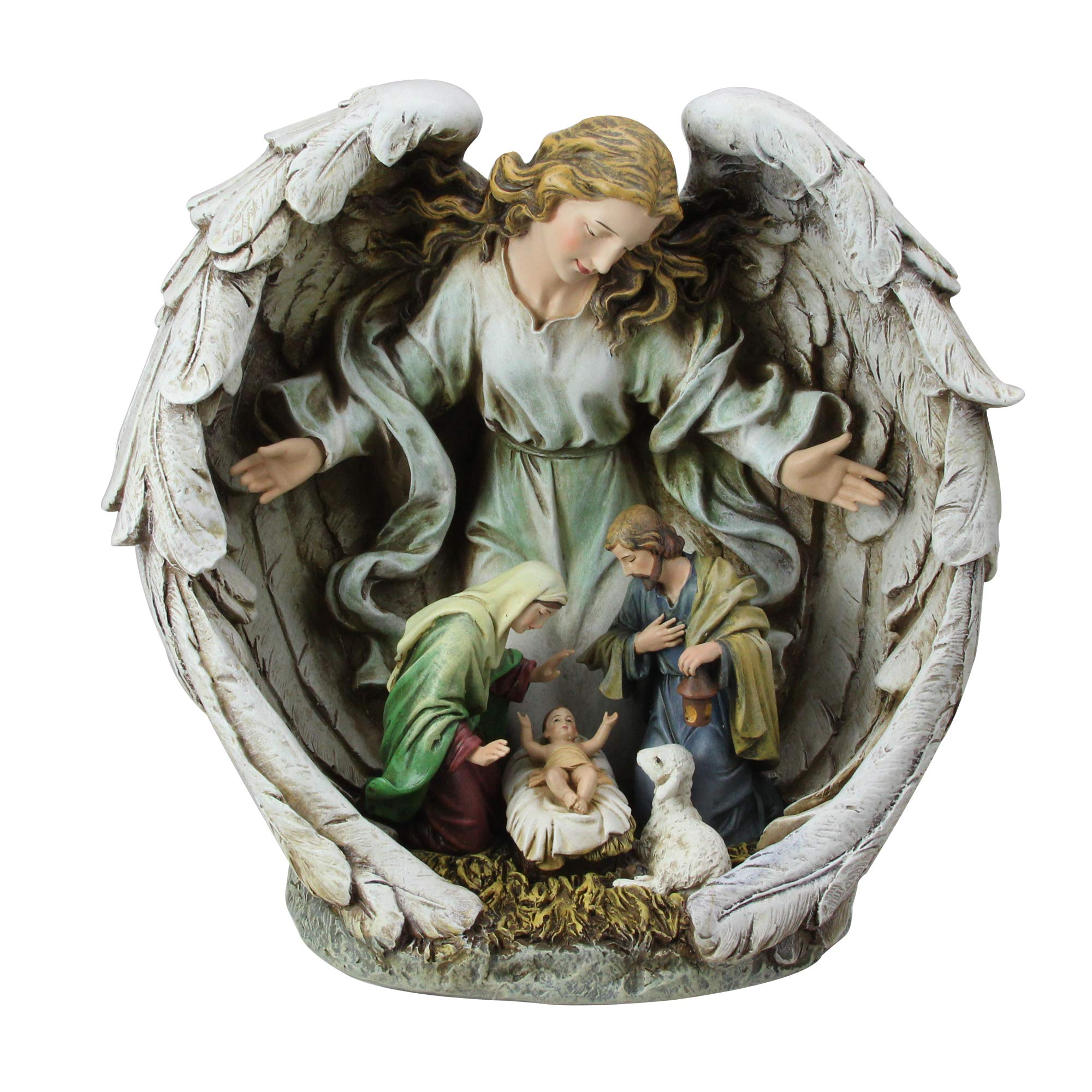 11'' Holy Family in Angel Nativity Table Top Christmas Figurine