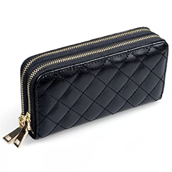 d05e2c64ab1c Portefeuille pour Femme Grande Capacité Porte Monnaie en Cuir PU Pochette  Téléphone Portable Longue Double Compartiment