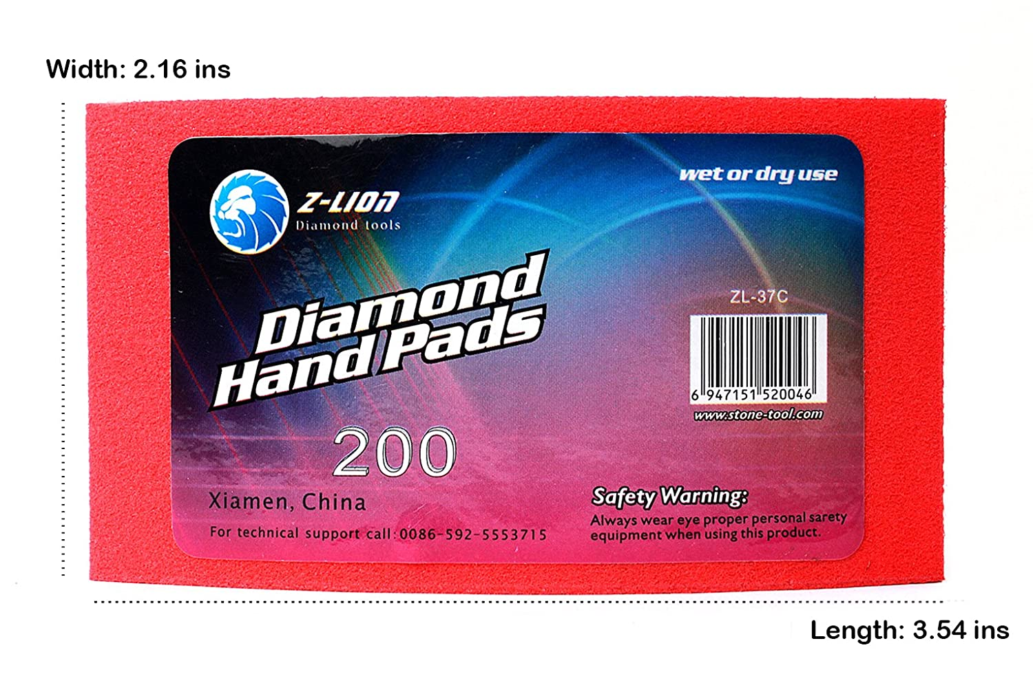 Z-lion Electroplated Diamond Polishing Hand Pads Grit 60 Arc Shape Back for Glass Stone Granite Marble