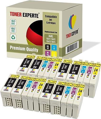 Pack de 20 XL TONER EXPERTE® Compatibles 34 34XL Cartuchos de Tinta para Epson Workforce Pro WF-3720DWF, WF-3725DWF (8 Negro, 4 Cian, 4 Magenta, 4 Negro): Amazon.es: Electrónica