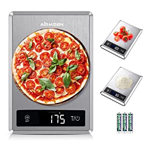 AIRMSEN Food Scale, Digital Kitchen Scale (1g/0.05oz Precise Graduation) for Baking, Cooking and Coffee, Tare Function and Stainless Steel Finish, Battery Included