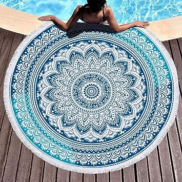 indio Mandala Hippie boho Toalla de playa grande redondo microfibra toalla de playa playa manta Toalla Mantel de picnic pared colgantes 150 cm Blau1: ...