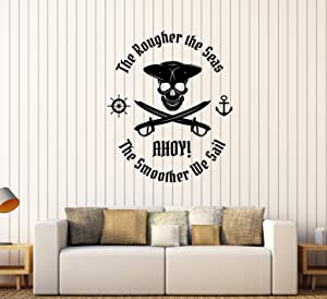 Vinyl Wall Decal Pirate Sailor Nautical Decor Quote Skull Stickers (295ig) Matte Black