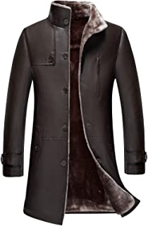 a31c60eb0d2b JIINN Homme Classique Hiver Épais Chaud Faux Fur Fourrure Cuir Gothic  Manteaux Parka Outdoor Veste Blousons