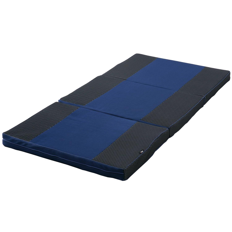 ライズ スリープマジック 敷布団兼用 高反発マットレス V02 高密度30Dウレタン <ブロックタイプ> 厚さ8cm セミダブル ネイビー B0769NPQG9