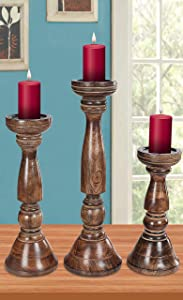 Candle Holder Stand Wooden, Candalbras, Candle Holders, Unity Candle Holders, Rounded Turned Colums, Country Style Idle Gift for Wedding, Party, Home, Spa - 16,14,12 Inch Set of 3 - Burnt