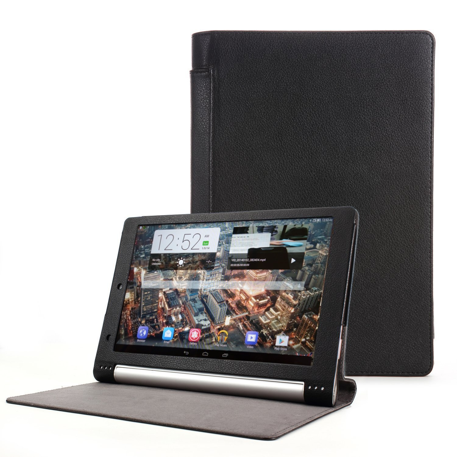 Navitech Black Faux Leather Case Cover Compatible with The Lenovo Yoga 2 10.1