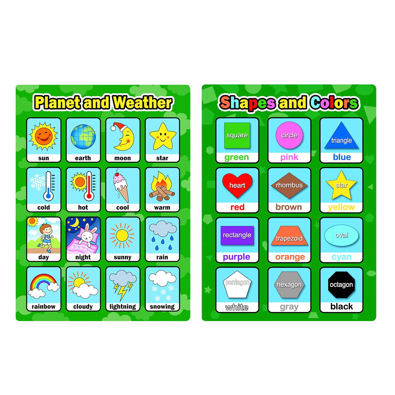 Bememo 9 Pieces Educational Preschool Posters Learning Poster Kit ...