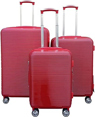 Kemyer Series 850 Expandable Hardside Luggage Spinner Wheeled Suitcase 28, 24 20 inch, 3 pc set One Size, Red