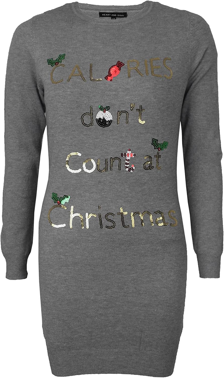Heart And Soul Damen Paillette Prosecco Ho Weihnachts Pullover Neuheit Top