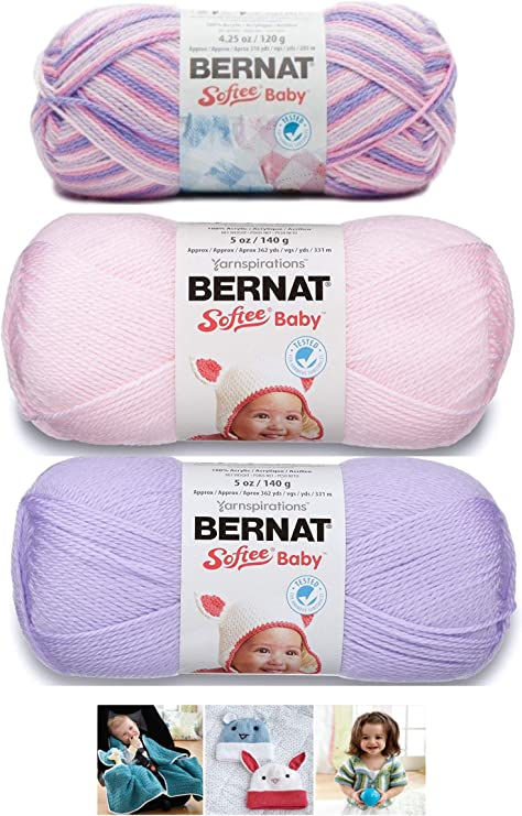 White Bernat Softee Baby Yarn 3 Pack Bundle Includes 3 Patterns DK Light Worsted