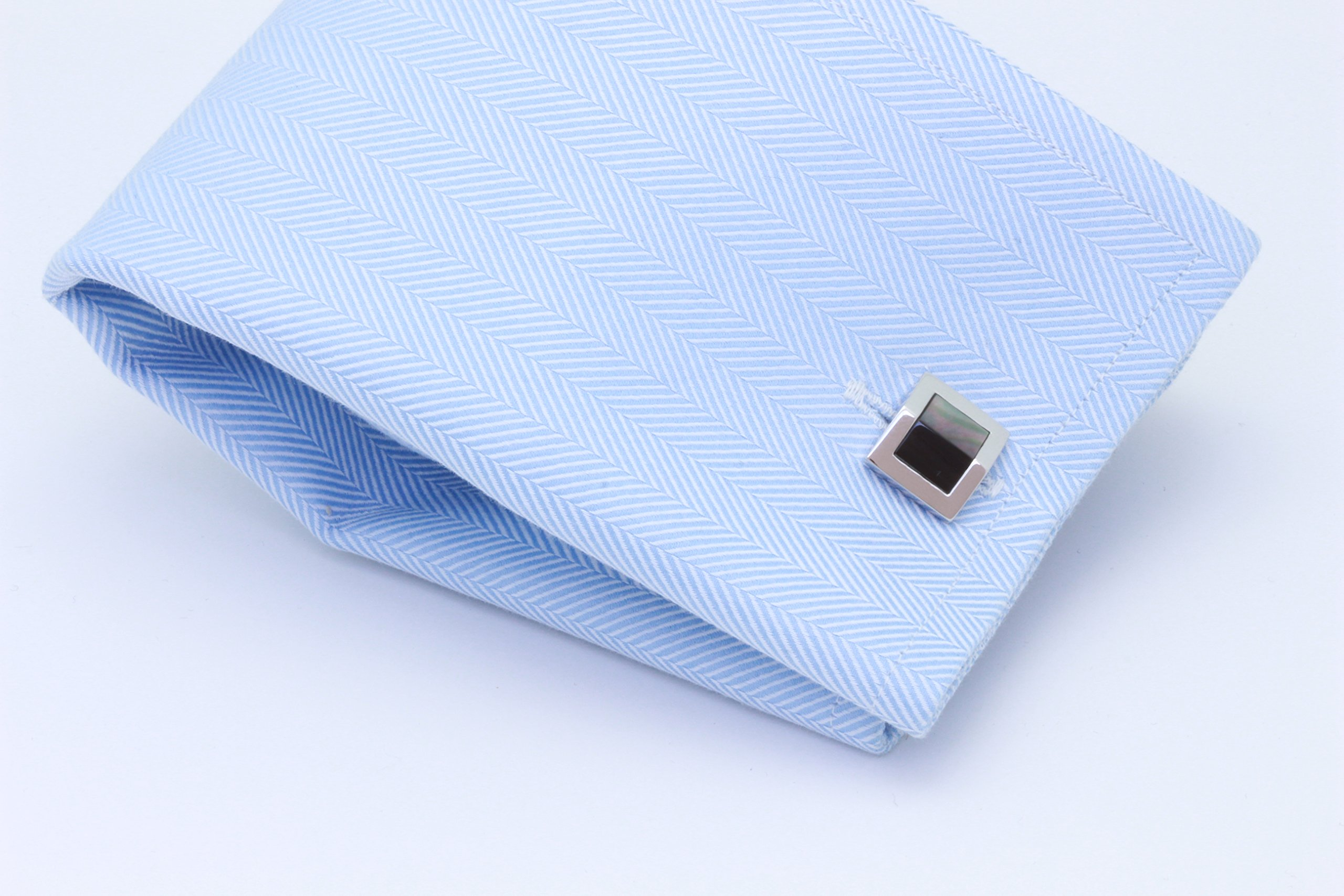 Zsamuel Mens Sterling Silver Black Mother of Pearl Gable Design Cufflinks by Z.Samuel (Image #3)