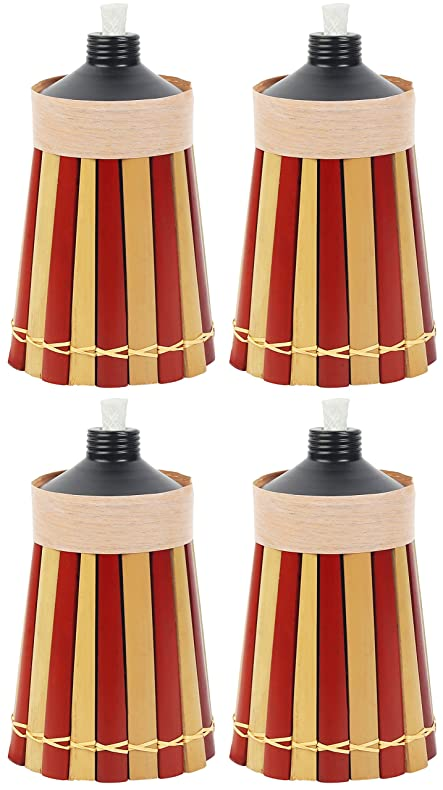 Bamboo Tiki Torches   4 Pack   Metal Oil Canister   8in High, 10oz.