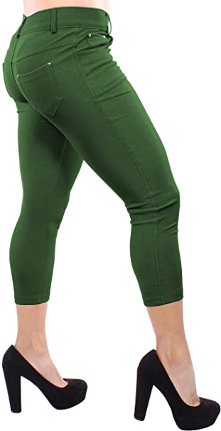 ddc915ac536407 Enimay Women's Colored Jean Look Capri Jeggings Tights Spandex Leggings  Pants at Amazon Women's Clothing store: