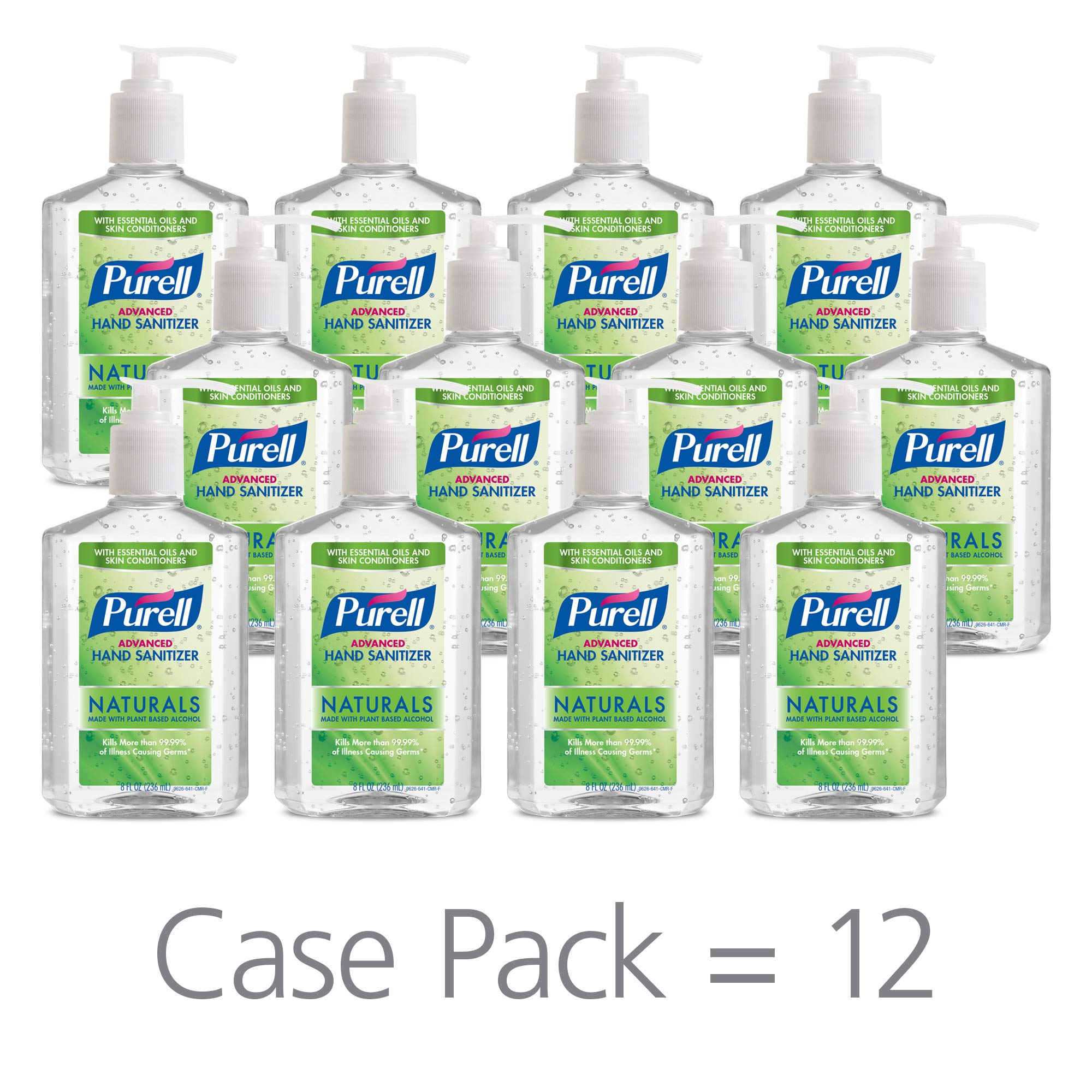PURELL Advanced Hand Sanitizer Naturals with Plant Based Alcohol, Citrus Scent, 8 fl oz Pump Bottle (Pack of 12) - 9626-12-CMR by Purell