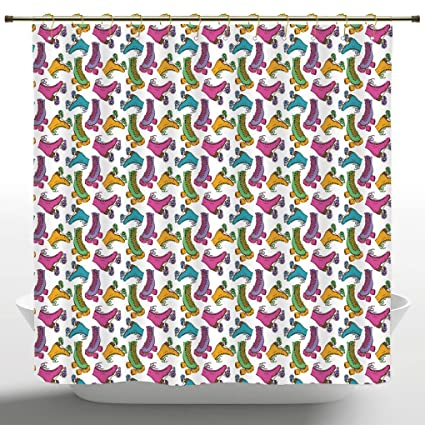 Funky Shower Curtain By IPrintTeen Room DecorRetro Colorful Roller Skates In Vivid