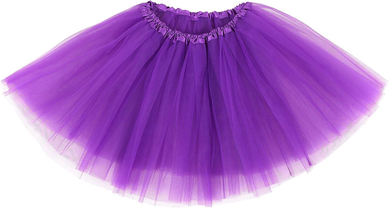 Simplicity Women's Classic Elastic 3 Layered Tulle Running Tutu Skirt, Purple at  Women's Clothing store
