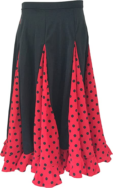 La Señorita Falda Flamenco Sévillane niña Rojo Rojo con Puntos ...