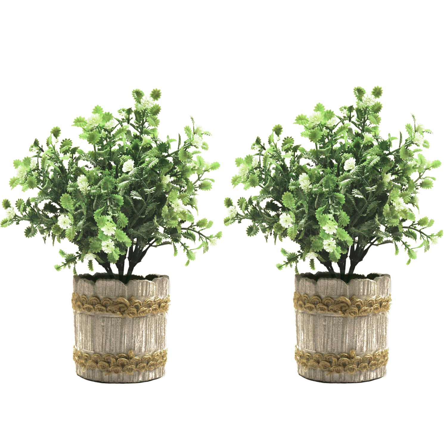 SHACOS 2 Pack of Artificial Potted Plants,Plastic Bonsai Plants with Retro Cement Planter Fake Greenery for House Office Garden Outdoor Décor (White Gypsophila, 2) by SHACOS
