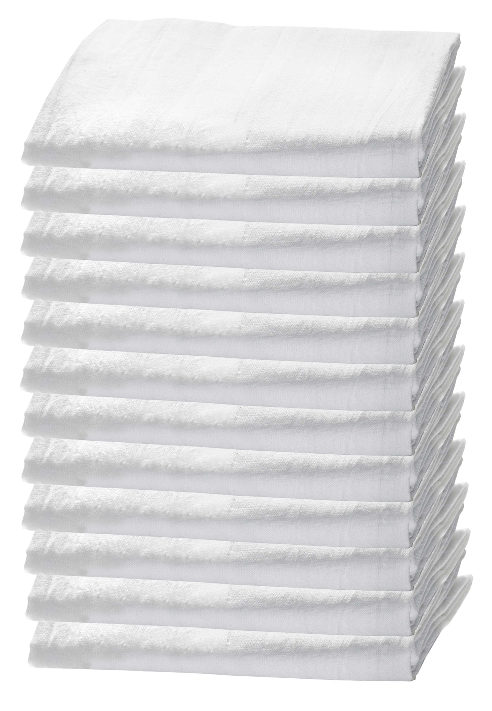 HomeLabels Kitchen 12 Pack Flour-Sack Towels, 100% Pure Rung Spin Cotton, Hand Towels, Multi-Purpose, Highly Absorbent by HomeLabels