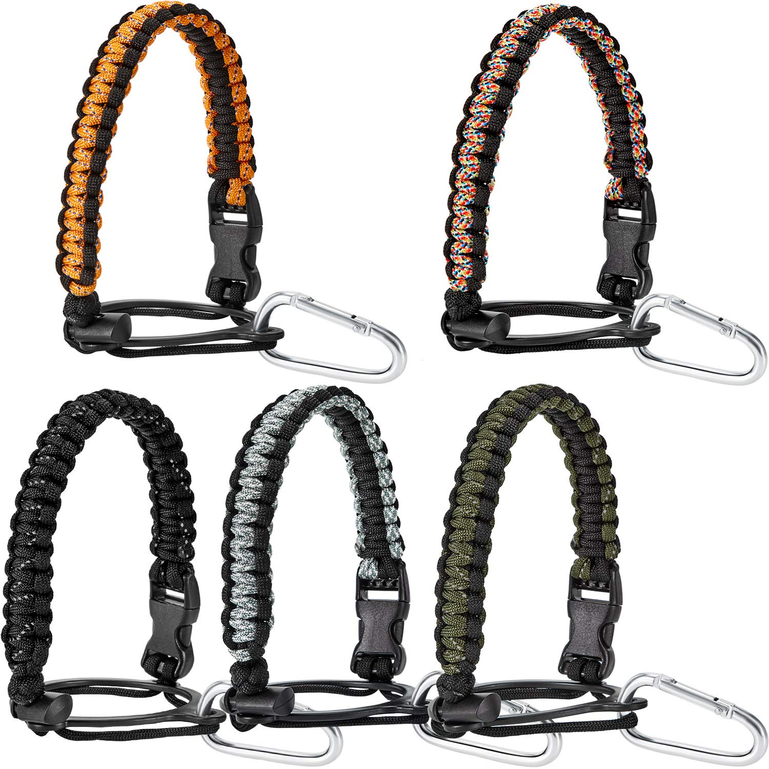 5 Sets Bottle Handle Strap Paracord Strap with Safety Ring and Safety Clips Keychain Buckle Clip for Water Bottle Fits 12 oz to 64 oz Bottles
