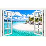 Amtoodopin 3D Beach Seascape Fake Windows Wall Stickers Removable Faux Windows Wall Decal Landscape Wall Decor for…