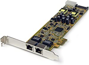 StarTech.com Dual Port PCI Express Gigabit Ethernet Network Card Adapter - 2 Port PCIe NIC 10/100/100 Server Adapter with PoE PSE (ST2000PEXPSE)