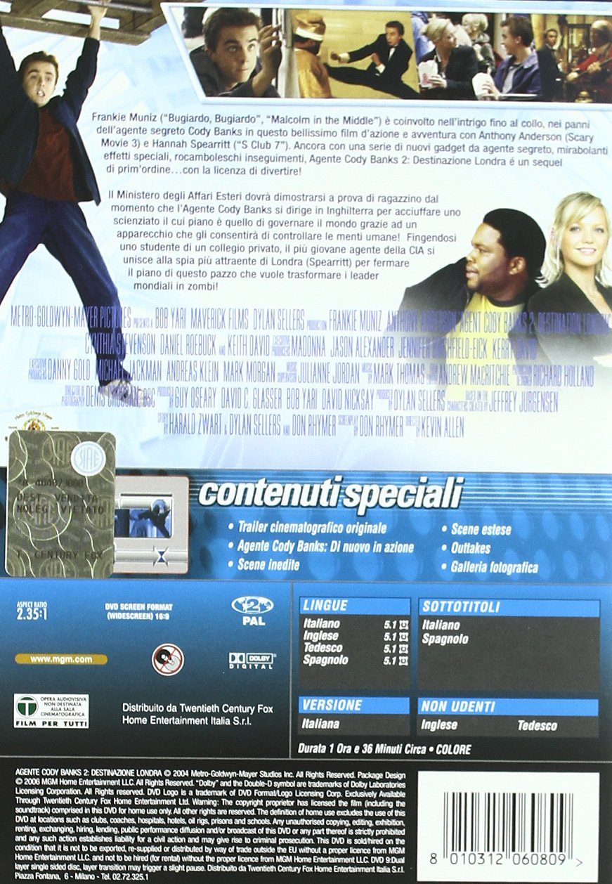 Amazon.com: Agente Cody Banks 2 - Destinazione Londra: frankie muniz, hannah spearritt, kevin allen: Movies & TV